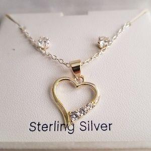 Belk Sterling Silver Heart Necklace & Earrings Set